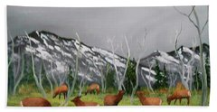 Beach Towel featuring the painting Feeding Elk by Al Johannessen