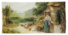 Feeding Time Beach Sheet by Ernest Walbourn