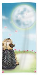 Beach Towel featuring the mixed media Feeling Love by Catia Lee
