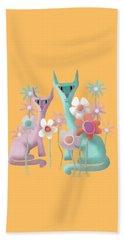 Felines In Flowers Beach Towel