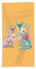 Felines In Flowers Beach Sheet