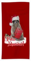 Feliz Navidad - Raccoon Beach Towel by Gravityx9  Designs