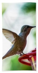 Beach Towel featuring the photograph Female Anna's Hummingbird V24 by Mark Myhaver