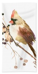 Female Cardinal Bird Beach Towel