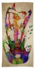 Female Guitarist Beach Towel
