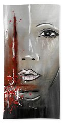 Female Half Face On Grey Abstract Beach Towel