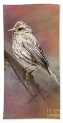 Female Sparrow On Branch Ginkelmier Inspired Beach Towel