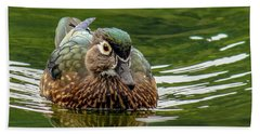Beach Sheet featuring the photograph Female Wood Duck by Jean Noren