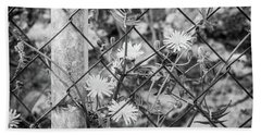 Fence And Flowers. Beach Towel