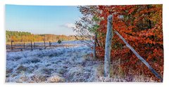 Beach Towel featuring the photograph Fenced Autumn by Dmytro Korol