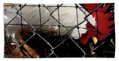 Fenced In Chicken Art By Lesa Fine Beach Sheet