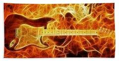 Fender Stratocaster Beach Towel by Taylan Apukovska