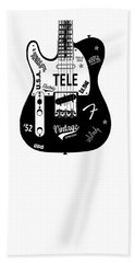 Fender Telecaster 52 Beach Towel by Mark Rogan