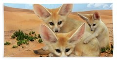 Beach Sheet featuring the digital art Fennec Foxes by Thanh Thuy Nguyen