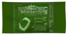 Fenway Park Blueprints Home Of Baseball Team Boston Red Sox Beach Towel