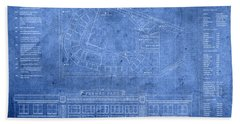 Fenway Park Blueprints Home Of Baseball Team Boston Red Sox On Worn Parchment Beach Towel
