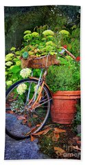 Fern Dale Flower Bicycle Beach Towel by Craig J Satterlee