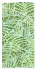 Fern Green Fossil Leaves Beach Towel