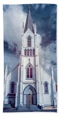 Ferndale Church In Infrared Beach Towel by Greg Nyquist