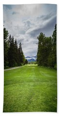 Beach Towel featuring the photograph Fernie Tee Box by Darcy Michaelchuk