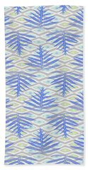 Ferns On Diamonds Indigo Gray Beach Towel