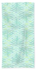 Ferns On Diamonds Pale Teal Beach Towel