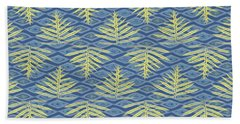 Ferns On Diamonds Yellow Indigo Beach Towel