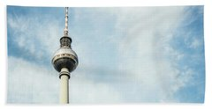 Fernsehturm Against Blue Sky Beach Towel