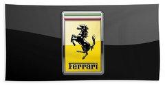 Ferrari 3d Badge- Hood Ornament On Black Beach Towel