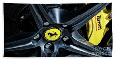 Beach Towel featuring the photograph Ferrari Wheel I by Brad Allen Fine Art