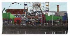 Ferris Wheel At Santa Monica Pier Beach Towel