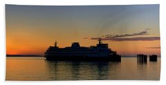 Ferry Boat Arrives To Mukilteo Ferry Terminal Beach Towel