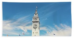 Beach Towel featuring the photograph Ferry Building San Francisco 1915 - California Photography by Melanie Alexandra Price