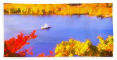Ferry Crossing Connecticut River. Beach Towel