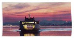 Ferry Issaquah Docking At Dawn Beach Towel