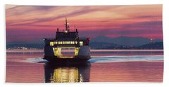 Ferry Issaquah Docking At Dawn Beach Towel by E Faithe Lester