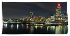 Ferry Terminal In Vancouver Bc At Night Beach Towel
