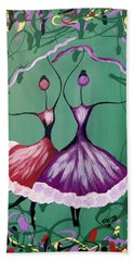 Beach Towel featuring the painting Festive Dancers by Teresa Wing