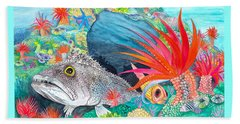 Beach Sheet featuring the painting Festive Fish by Adria Trail
