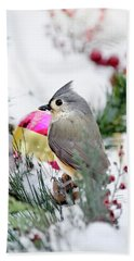 Festive Titmouse Bird Beach Sheet by Christina Rollo