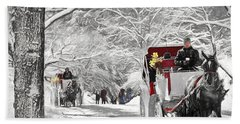 Festive Winter Carriage Rides Black And White Beach Towel