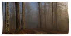 Foggy Morning In The Forest Beach Towel