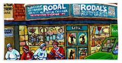 Fiddler On The Roof Painting Canadian Art Jewish Montreal Memories Rodal Gift Shop Van Horne Hockey  Beach Sheet by Carole Spandau