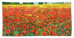 Field And Poppies Landscape Beach Sheet
