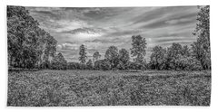 Beach Towel featuring the photograph Field Gaeddeholm  Bw by Leif Sohlman