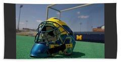 Field Hockey Helmet Beach Towel