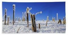 Field Of Frosty Straws Beach Sheet