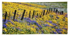 Field Of Gold And Purple Beach Sheet