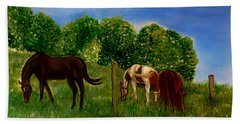Field Of Horses' Dreams Beach Towel