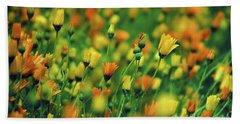 Field Of Orange And Yellow Daisies Beach Sheet
